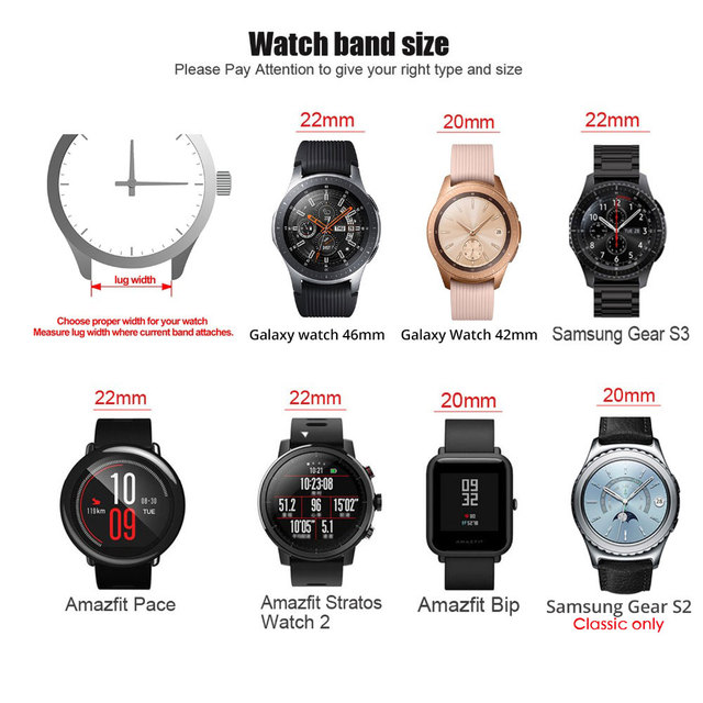 18mm 22mm 20mm 24mm Watch Band Stainless Steel Straps For Galaxy watch active2 44mm 40mm Gear S3 S2 Huawei Amazift bip