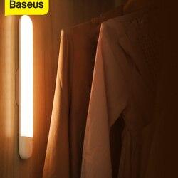 Baseus LED lampe d'armoire PIR détecteur de mouvement lumière USB garde-robe lumière chaude veilleuse LED LED nuit lampe aimant applique murale