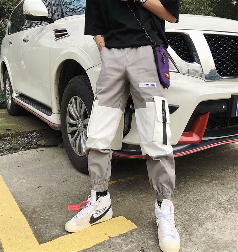 Mens Multi-Pocket Cargo Pants Men Harajuku Splice Streetwear Joggers Man Elastic Waist Sweatpants Techwear Cargo Pants