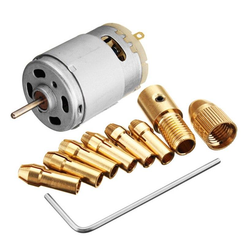 1pc nuevo DC 12V 500mA micro Motor con 5 uds 0,5-3,0mm taladro Collet PCB eléctrico herramienta