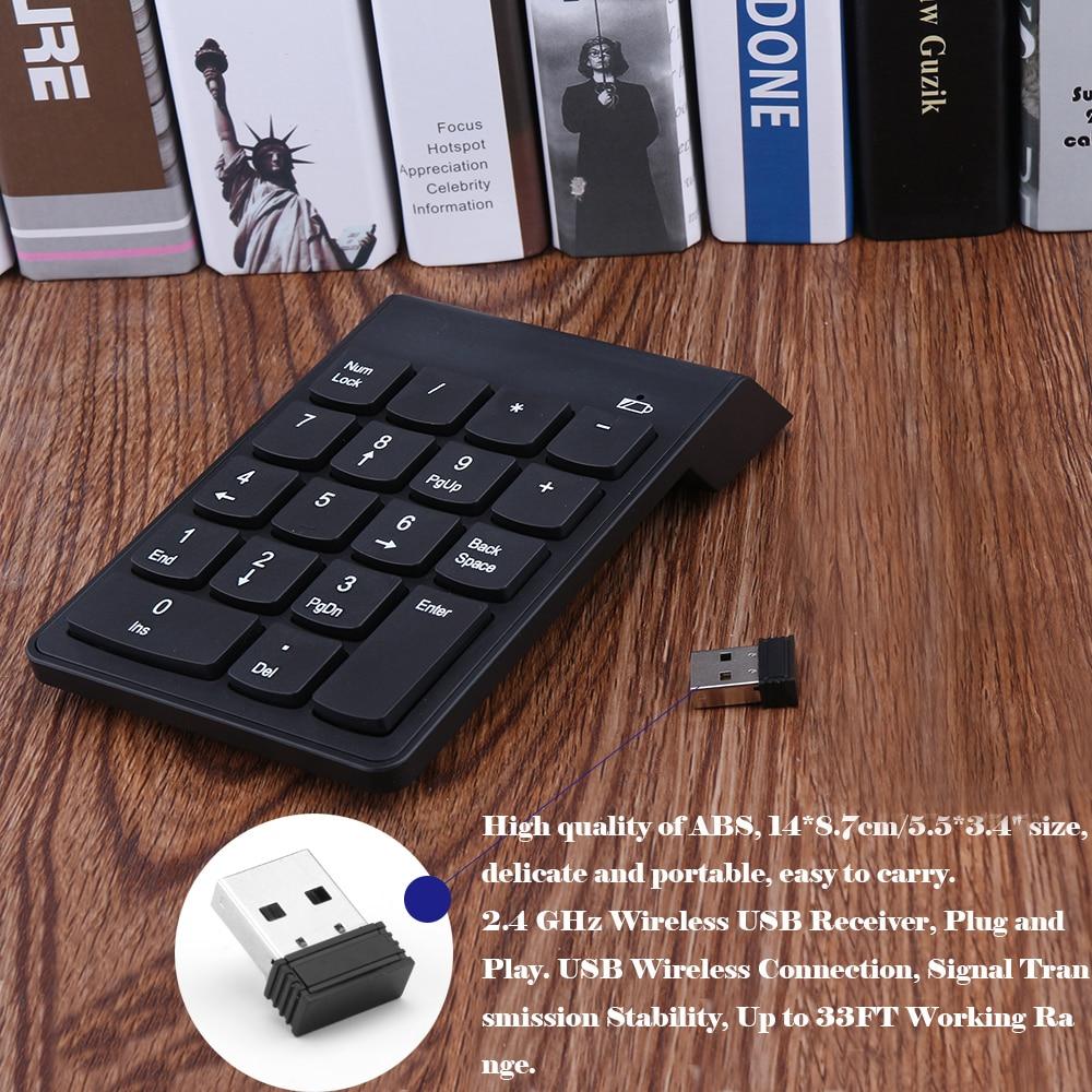 Mini teclado numérico 18 teclas teclado Digital 2,4G USB teclado inalámbrico para ordenador portátil Compatible con ordenador portátil PC Envío Gratis DIY contraseña electrónica teclado candado digital de armario para oficina hotel casa piscina