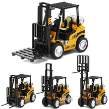 1/24 Scale 14.5CM Fork Lift Truck Engineering Construction Car Diecast Alloy Model Toys W Pallet Collections for Children Kids