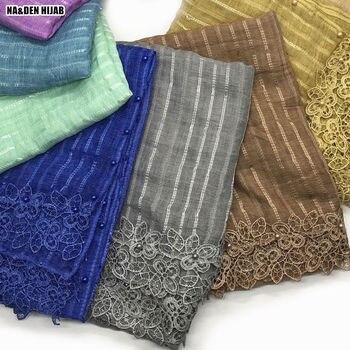 NEW embroidery flower edge hijab scarf pearls design striped fashion scarves and shawls echarpe women muslim luxury hijabs