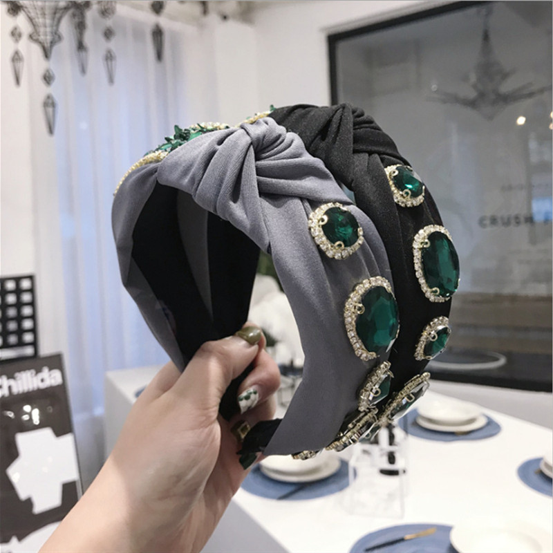 High-end Hair Accessories Women's Retro Emerald Emerald Knitted Knotted Wide Hairbands Headband Gorgeous Flash Diamond Hair Band
