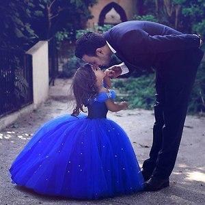 VOGUEON костюм принцессы Золушки для девочек, Пышное Бальное Платье, детское платье из тюля с открытыми плечами и бусинами, одежда на Хэллоуин, ...