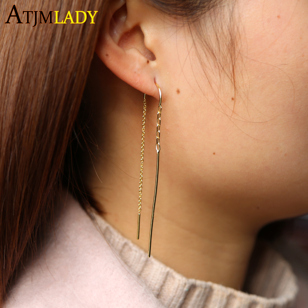 Stock Free Gift Gold Color Simple Delicate Jewelry Tiny Bar Link Chain Minimal Girl Women Simple Fashion Long Tassel Earring