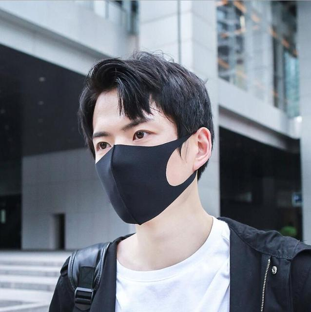 Black Mouth Mask Washable Anti Dust Mask Activated Carbon Windproof Mouth-muffle Bacteria Proof Flu Face Masks for Women Men