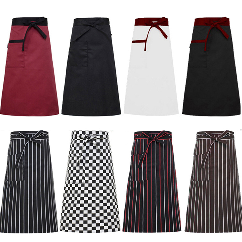 9Color Restaurant Chef Aprons Cook Uniforms Solid Lace Bottoms Kitchen Clothing For Men Food Service Work Wear Costumes