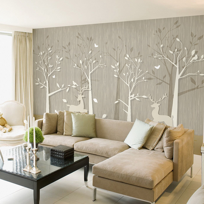 Cartoon Modern Minimalist Woods Wallpaper Living Room Television Background Wall Wallpaper Bedroom 3D Seamless Mural Elk