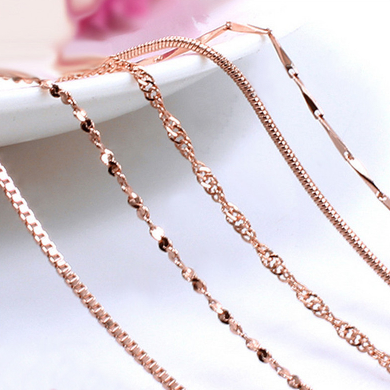 New Hot Sales Stainless Steel Rose Gold Rope Snake Chain Necklace For Women Men Fashion Rope Chain Jewelry Gift 45cm