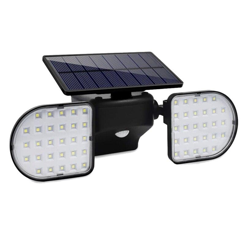 Top-360-Degree Rotatable Outdoor Solar Lights,Dual Head Spotlights Waterproof ,Solar Poweredwith Wall Lights Security Night Ligh