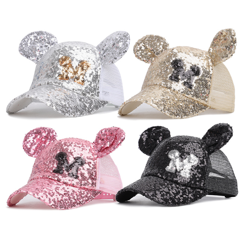 Fashion Sequin Baby Mickey   baseball     cap   Hat For Girl Boy Kids Snapback Mesh Hat With Ear Cute Children minnie mouse   cap