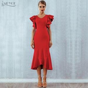 Image 2 - Adyce夏赤フリルセレブイブニングドレスパーティードレス女性vestidos 2020 蝶ノースリーブバックレスマーメイドクラブドレス