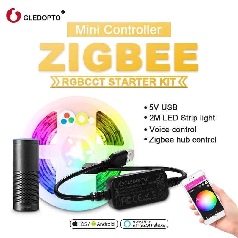 ZIGBEE led rgbcct mini control ler smart TV strip светильник 5V USB control ler Alexa Echo plus Голосовое управление APP control smartthings
