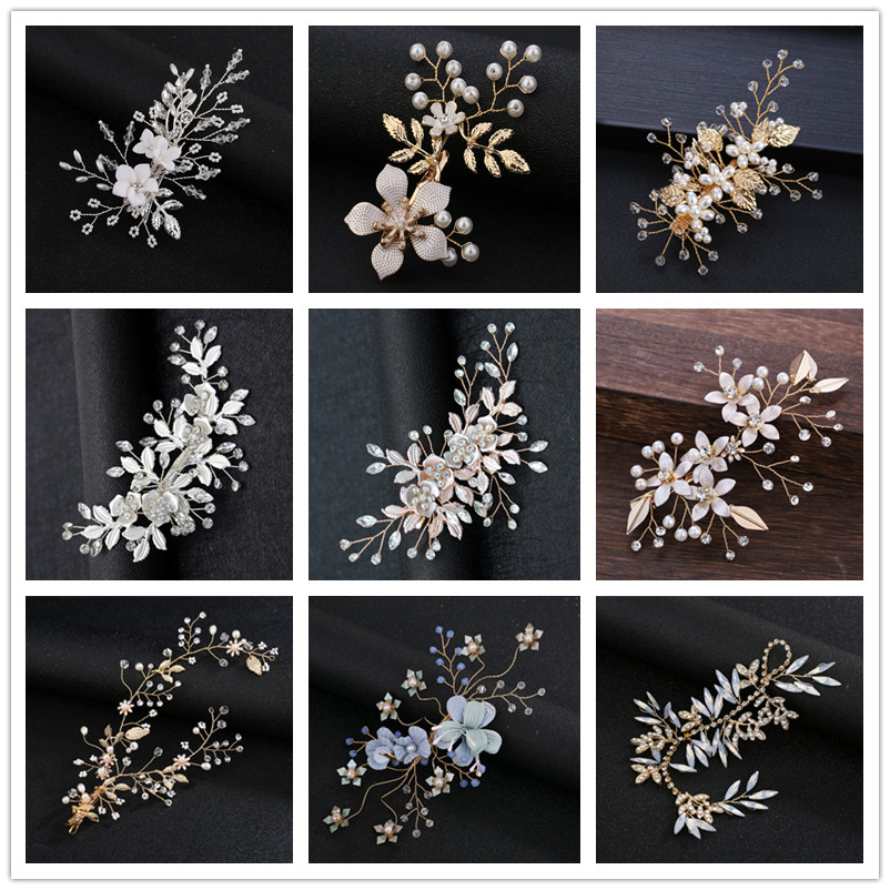 Wedding Hair Clips Headdress for Bride Handmade Floral Pearl Crystal Bridal Hair Accessories Hairpin Ornaments Jewelry