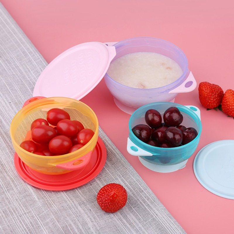 3Pcs/Set Baby Suction Cup Food Bowls with Lid Spill-proof Infant Feeding Dish Drop Resistance Sucker Dinner Plate
