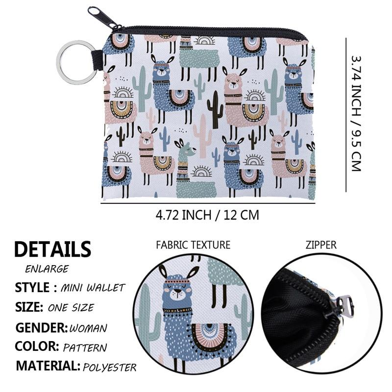 Women's Coin Purse Zipper Waterproof Card Key Bag Alpaca Pattern Children Small Purses Cartoon Cute Mini Kawaii Wallet Handbags