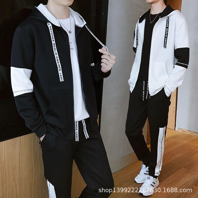Spring And Autumn Cardigan Men Leisure Set Men's Hoodie Sports New Style Students Versatile Coat Hoodie Trend