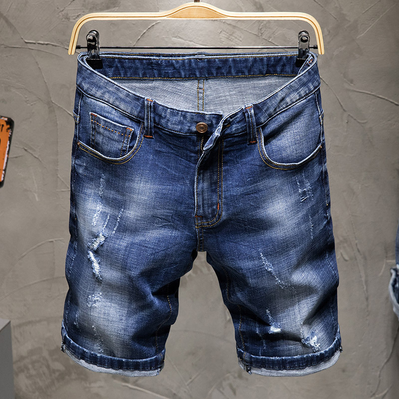 Summer New Style Men Embroidered Denim Shorts Thin Korean-style Trend With Holes Men Fifth Pants Shorts Stretch Pants
