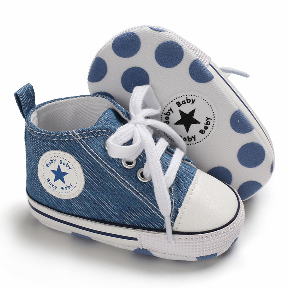 Newborn Boy Girl Shoes First Walkers Infant Baby Shoes White Soft Anti-Slip Sole Unisex Toddler Casual Canvas Crib Shoes 3