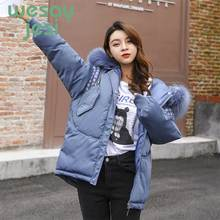 купить Parka Women's Long Down Winter Jacket women Fur Collar Full-sleeve Hooded Female Jacket Warm Thick Long Coat Women's Coat дешево