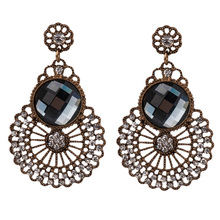 Korean Earrings for Women Hollow Out Earings Fashion Jewelry Cz Crystal Gold Tone цена 2017