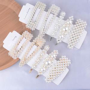 Button-Hair-Pins Barrette-Stick Jewelry Snap Pearl Sweet Fashion Women Lady 5pcs/Set