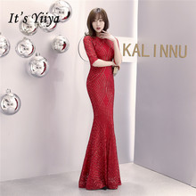 Occasion-Dresses Evening-Dress Sequin Mermaid Half-Sleeve Yiiya O-Neck Special Zipper