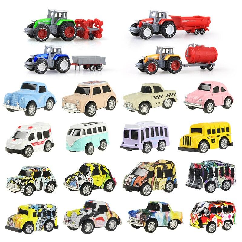 12 Styles Mini alliage de voiture moulé sous pression retirer les véhicules modèle jouet ingénierie camion Taxi Bus jouets voiture pour garçon enfants Collection cadeau