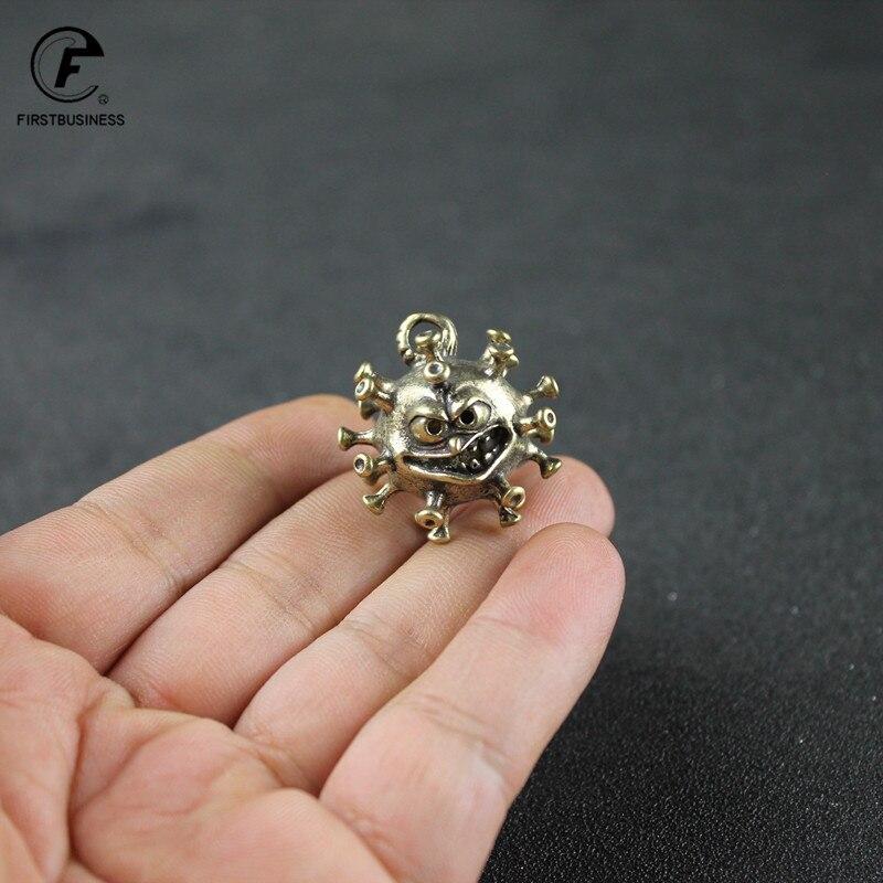 Brass Cartoon Virus Model Car Key Chain Pendants Jewelry Punk Men Keychain Child School Bag Hangings Trinket 2020 Souvenir Gifts