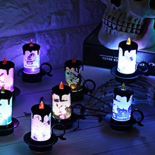 Halloween Lights Colorful LED Decorative Lights Candle Shaped Flameless Tea Lights Party Decoration Built-in Battery Halloween Lights LED Lights Fairy Lights Battery Christmas Halloween USB Romantic Lights