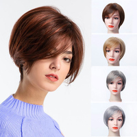 Lupu short straight heat-resistant synthetic hair ladies party wig golden brown 5 colors available