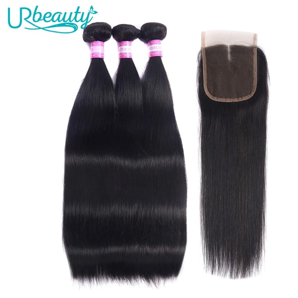 UR Beauty Straight Hair Bundles With Closure Brazilian Hair Weave Bundles With Closure Remy Human Hair Bundles With Closure