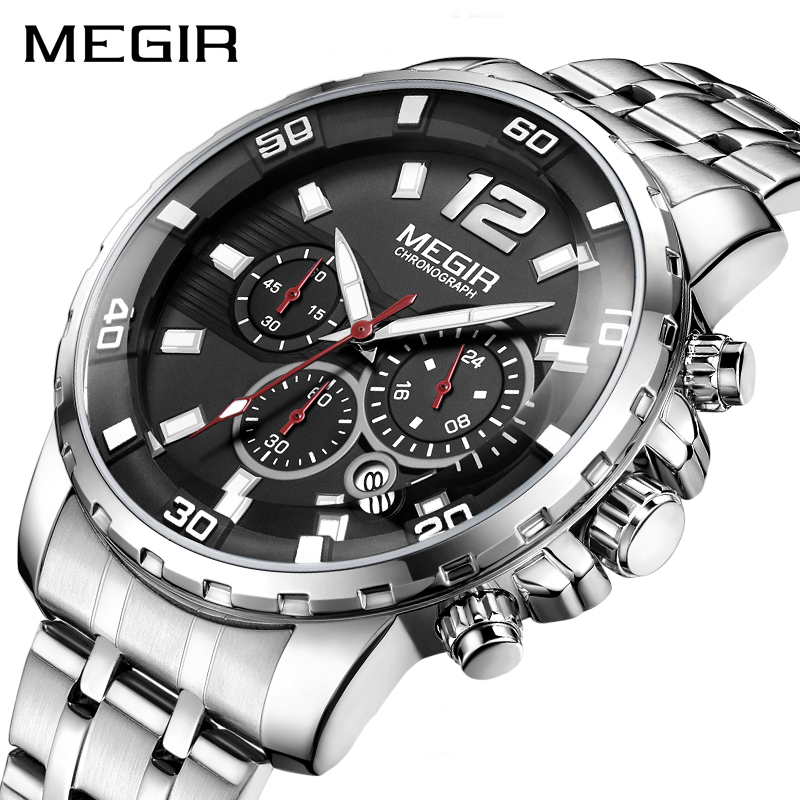 <font><b>MEGIR</b></font> Luxury Business Wrist Watch Men Brand Stainless Steel Chronograph Quartz Mens Watches Clock Hour Time Relogio Masculino image
