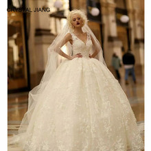 New Arrival 2020 Sexy V Neck Lace Ball Gown Wedding Dresses Custom made Sleeveless Wedding Gown Lace Bohemian Dress with Train