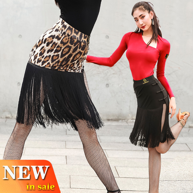 New Latin Dance Leopard Skirt Women Black Fringe Skirt Competition Tassel Costume Cha Cha Rumba Samba Dance Dress Latin BL2884