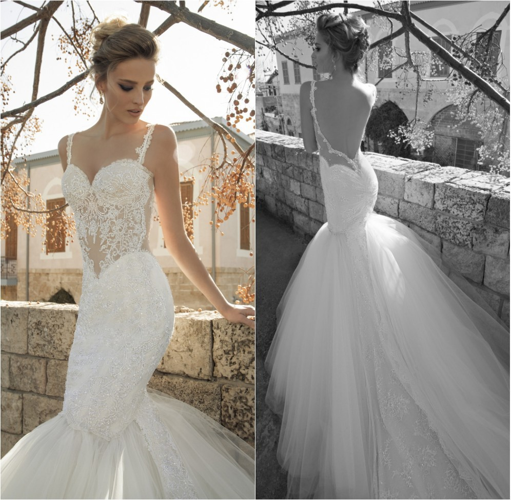 Spaghetti Straps Mermaid Tulle Sexy Wedding Dresses With Lace Sweetheart Backless Long Sweep Train Fish Tail Vestido De Novia