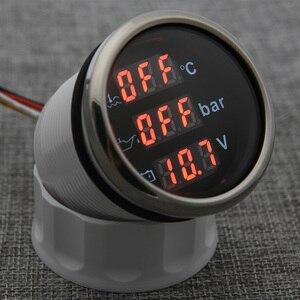 Image 2 - مقياس رقمي 3 في 1 ، شريط درجة حرارة الماء ، مقياس ضغط الزيت مع إنذار ، الفولتميتر ، مقياس درجة حرارة الماء IP67 ، الضوء الأحمر