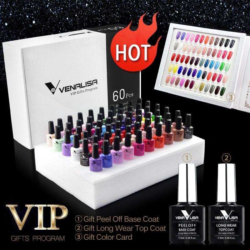 #61508 Venalisa 60 couleurs Gel de couleur un ensemble comprenant Base/Gel supérieur professionnel Gel d'art des ongles belle longue durée Gel vernis