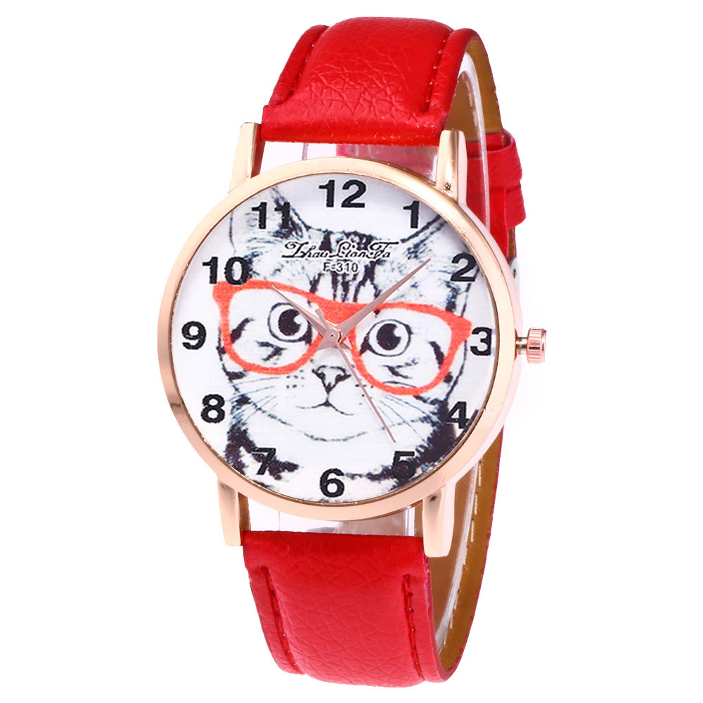 Zhoulianfa Brand Women's Watches Quartz Wrist Watch Cute Glasses Cat Dial PU Leather Band Reloj Hombre Fashion Ladies Watch