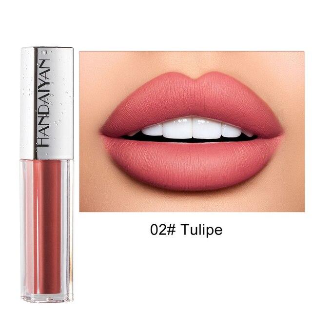 Brillo de labios líquido mate, brillo de labios líquido mate de larga duración, resistente al agua, cosmético de belleza, mantiene 24 horas de maquillaje, brillo de labios maquillaje TSLM1 2