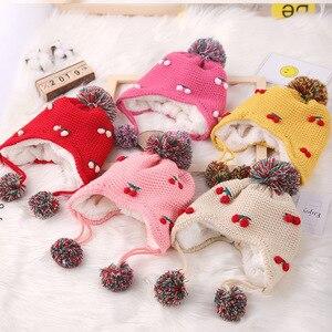 Bear Leader/Детские зимние теплые вязаные шапки для маленьких девочек и мальчиков, От 1 до 3 лет с мультяшными ушками, милые шапки с вишенками для м...