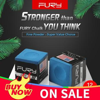 Original FURY Chalk Billiard 12 Pieces Blue Oil Pool Snooker Professional Accessories