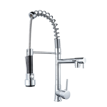 цена на 360 Rotation Brass Basin Kitchen Faucet Vessel Sink Mixer Tap Spring Dual Swivel Spouts Sink Mixer Bathroom Faucets Hot Cold