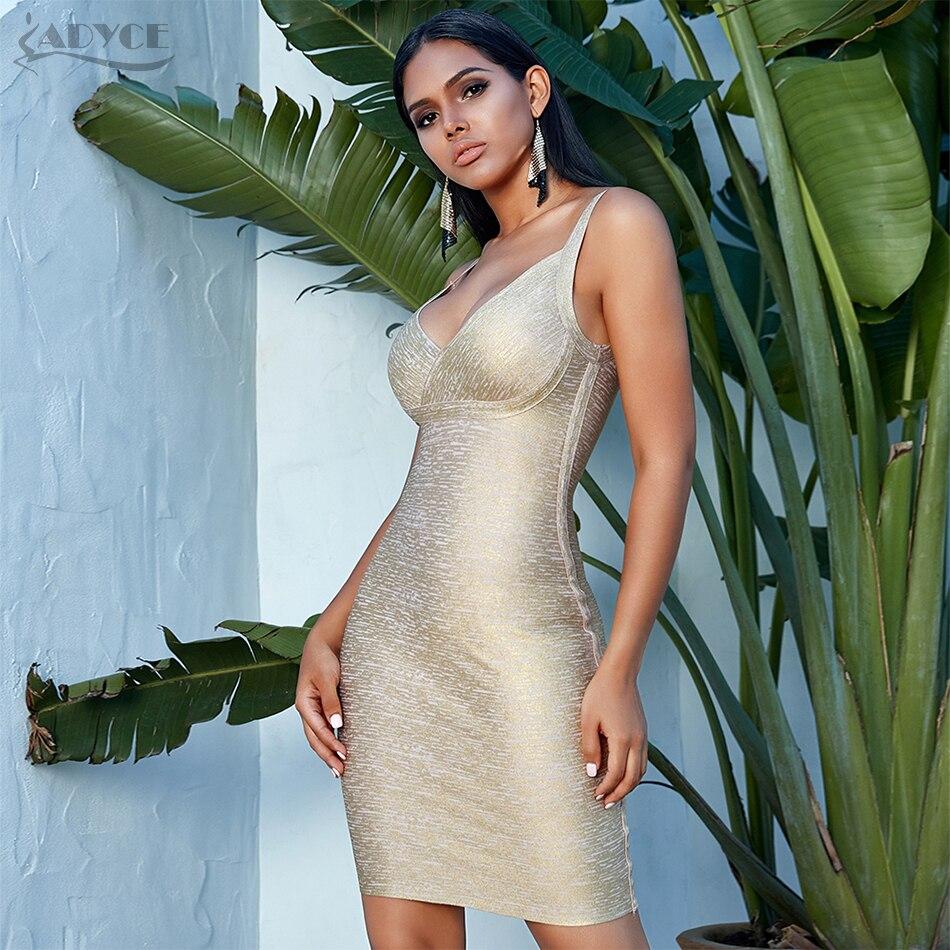 Adyce 2019 New Summer Women Gold Bodycon Bandage Dress Vestidos Elegant  V Neck Spaghetti Strap Club Dress Celebrity Party Dress