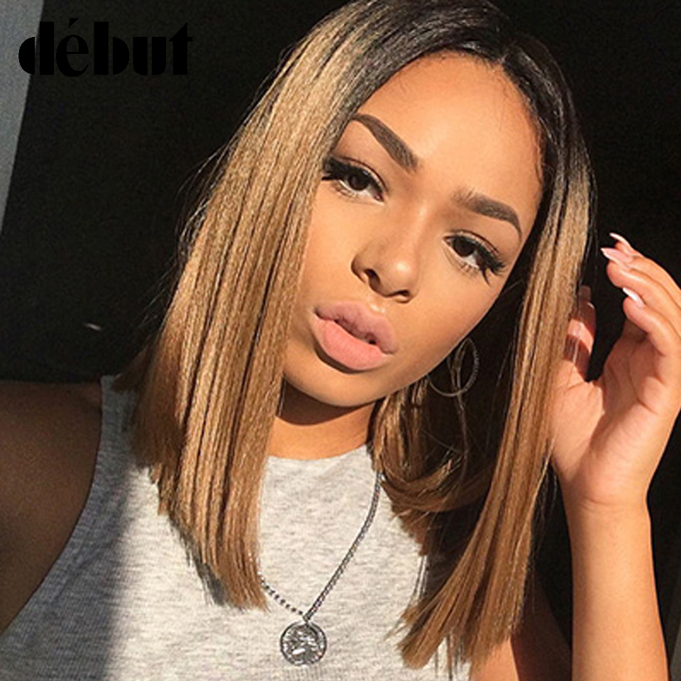 Debut Lace Part Human Hair Wigs For Black Women Brazilian Pelucas Mujer Cabello Humano Straight Short Bob Wigs Free Shipping