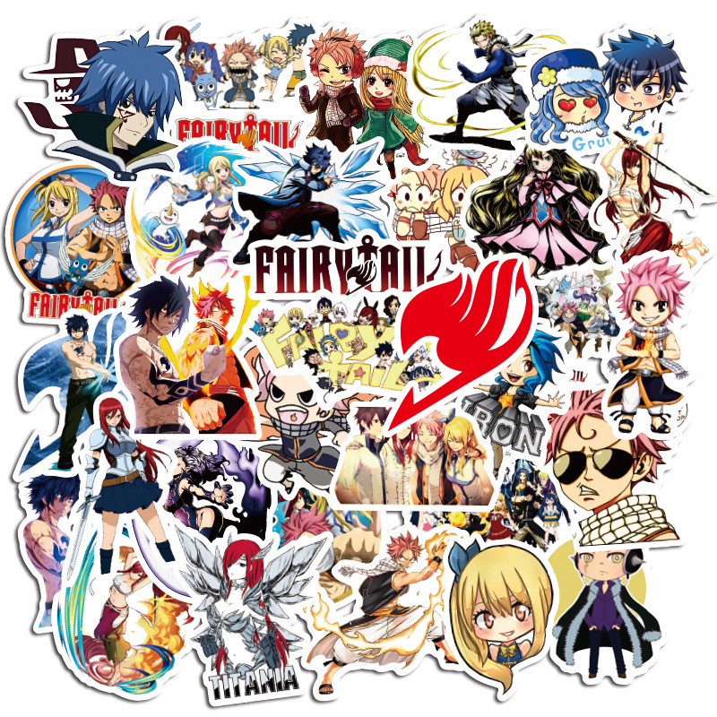 50Pcs Anime Sticker Fairy Tail Wendy Natsu Dragneel Graffiti Skateboard Illustration Repeatable Luggage Waterproof Stickers