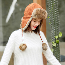 цены Super Warm Women's Faux Fur Hats Caps Winter Bomber Hats for Women Girls Rabbit Fur Hats Female Black Fleece Cap Russian Hats