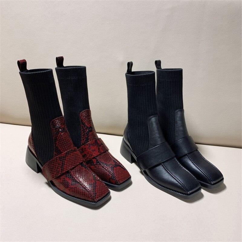 Модные полусапожки; элегантные женские вечерние сапоги с квадратным носком и змеиным узором; удобные женские сапоги на низком каблуке - 4