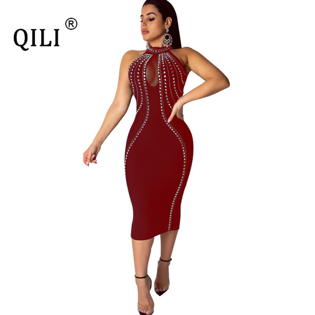 QILI Women Sexy Party Dress Sleeveless Backless Diamonds Rhinestone Dresses Black See Through Mesh Bodycon Dress Femme S-5XL 4